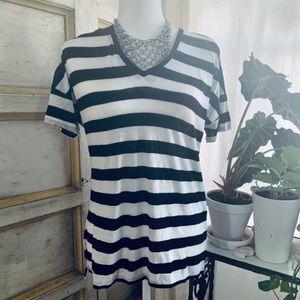 NYDJ Black and White Stripe Linen Blend T-…